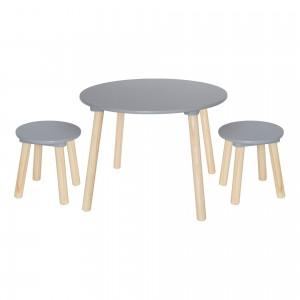 JaBaDaBaDo Runder Kindertisch mit Hockern in grau-natur - Holzspielzeug Profi