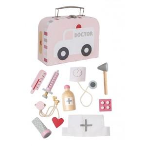 JaBaDaBaDo Arztkoffer in rosa mit Zubehör- Holzspielzeug Profi