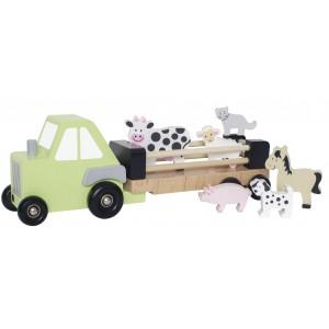 JaBaDaBaDo Traktor mit Farmtieren - Holzspielzeug Profi
