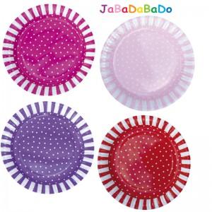 JaBaDaBaDo Pappteller mit Pünktchen in pink, rosa, lila & rot - Holzspielzeug Profi