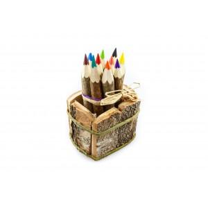 Kunterbunt Holzzstifte: 10 Juniorstifte in der Holzkiste - Holzspielzeug Pofi