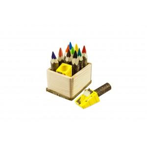 Kunterbunt Holzzstifte: Zwergen Komplett Set: 10 Holzstifte und ein Anspitzer in der Holzkiste - Holzspielzeug Pofi