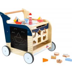 small foot Lauflernwagen Wal: mit Steckspiel und Tafel  - Holzspielzeug Profi