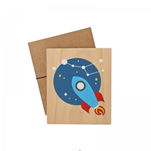 Lubulona Holzbild Illustration Rakete - Holzspielzeug Profi