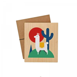 Lubulona Holzbild Illustration Lama: dekoriert - Holzspielzeug Profi