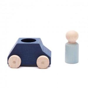 Lubulona Blaues Spielzeugauto mit grauer Holzfigur - Holzspielzeug Profi