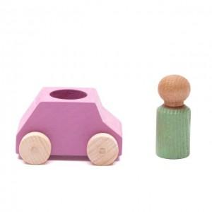 Lubulona Rosa Spielzeugauto mit grüner Holzfigur - Holzspielzeug Profi