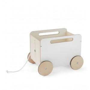 ooh noo Weiße Spielzeugkiste mit Rädern - Holzspielzeug Profi