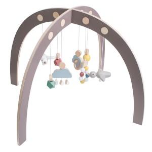 sebra Babygymnastikcenter aus Holz in warm grau - Holzspielzeug Profi