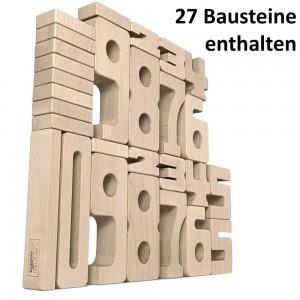 SumBlox Holzbausteine: Einsteiger Set mit 27 Zahlen Bausteinen - Holzspielzeug Profi