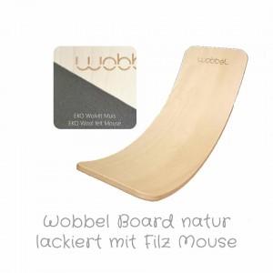 Wobbel Original in natur klar lackiert mit Filz Mouse: Farbauswahl - Holzspielzeug Profi