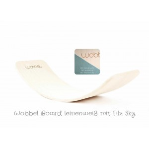 Wobbel Original in leinenweiss mit Filz Sky: Farbauswahl - Holzspielzeug Profi