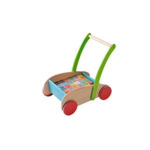 EverEarth Buchstabenwagen: Lauflernwagen mit Holzwürfeln - Holzspielzeug Profi