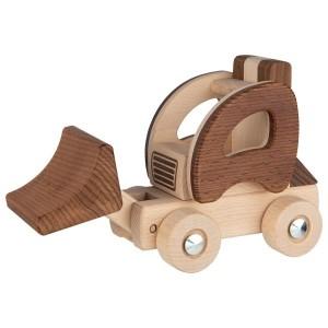 goki nature Kleiner Radlader: Schaufel oben - Holzspielzeug Profi