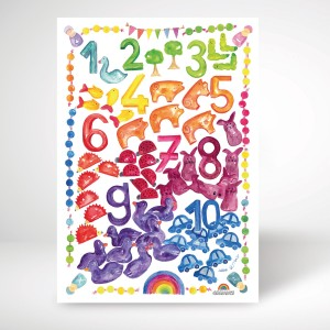 GRIMM´S Poster Kunstdruck Regenbogen Zahlenland - Holzspielzeug Profi