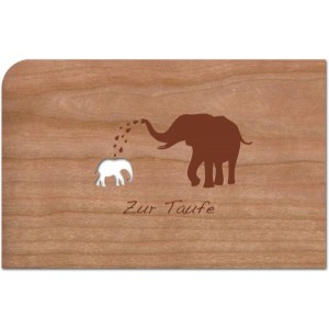 Holzpost® Grußkarte Zur Taufe Elefant