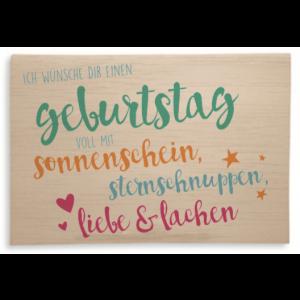 Holzpost® Klappkarte Geburtstagswünsche bunt