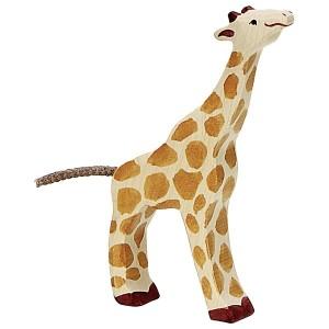 HOLZTIGER Kleine Giraffe fressend