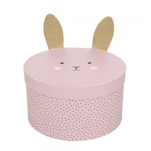 JaBaDaBaDo Aufbewahrungsbox Bunny rund in rosa  im 2er Set - Holzspielzeug Profi