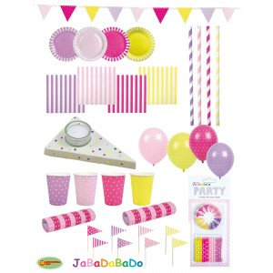 JaBaDaBaDo Party-Set Dotti pink-gelb (100 Teile)