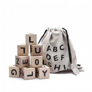 """ooh noo Holzwürfel """"Alphabet"""" Buchstaben & Zahlen schwarz"""