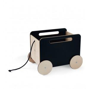 ooh noo Schwarze Spielzeugkiste mit Rädern