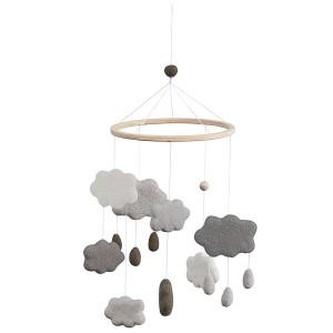 sebra Filz-Mobile Wolken warmes grau